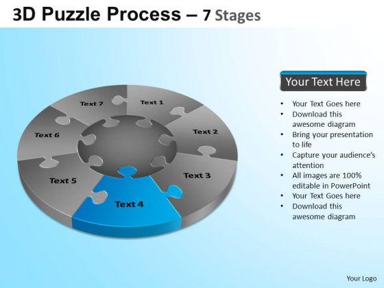 PowerPoint Process Teamwork Jigsaw Pie Chart Ppt Design