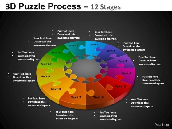 PowerPoint Process Teamwork Pie Chart Puzzle Process Ppt Template