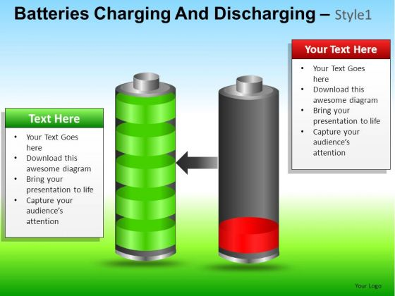 PowerPoint Slide Business Batteries Charging And Discharging Ppt Slide