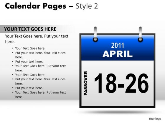 PowerPoint Slide Calendar 18-26 April Education Ppt Process