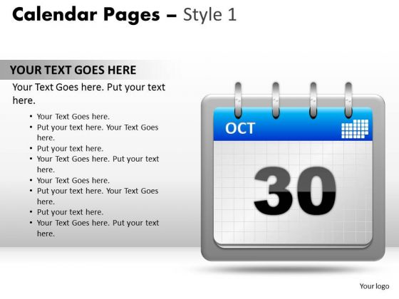 PowerPoint Slide Calendar 30 Oct Diagram Ppt Presentation