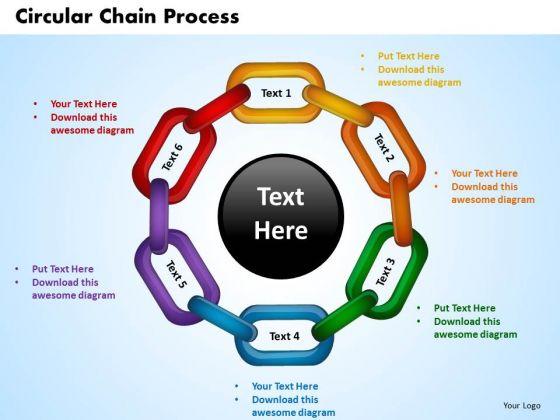 PowerPoint Slide Circular Chain Process Teamwork Ppt Themes