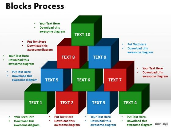 PowerPoint Slide Designs Blocks Process Growth Ppt Themes
