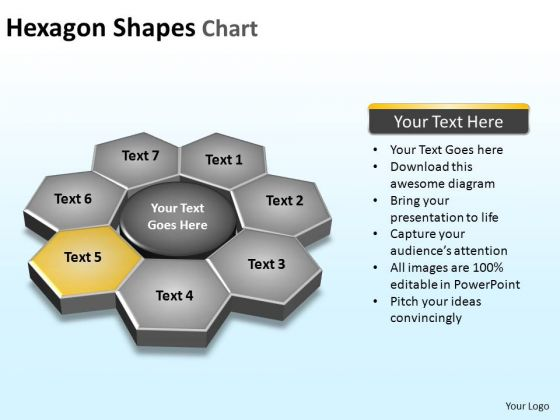 PowerPoint Slide Designs Chart Hexagon Shapes Ppt Backgrounds