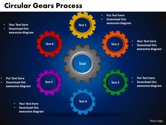 PowerPoint Slide Designs Circular Gears Process Teamwork Ppt Template
