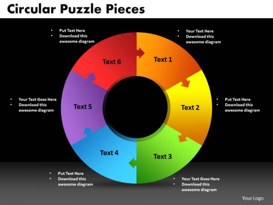 PowerPoint Slide Designs Circular Puzzle Pieces Growth Ppt Template