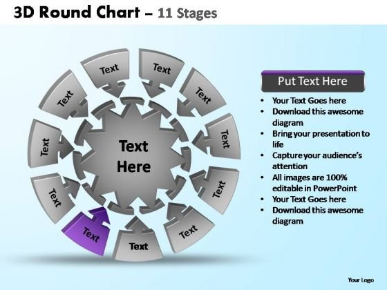 PowerPoint Slide Designs Diagram Pie Chart With Arrows Ppt Backgrounds