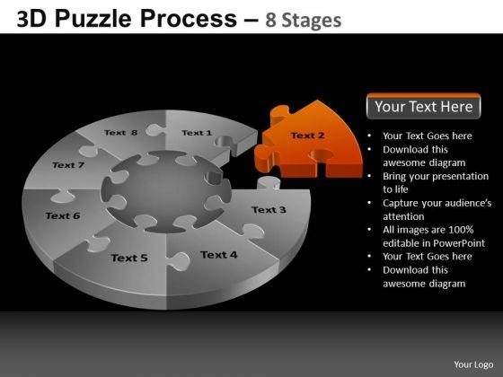PowerPoint Slide Designs Editable Pie Chart Puzzle Process Ppt Slides