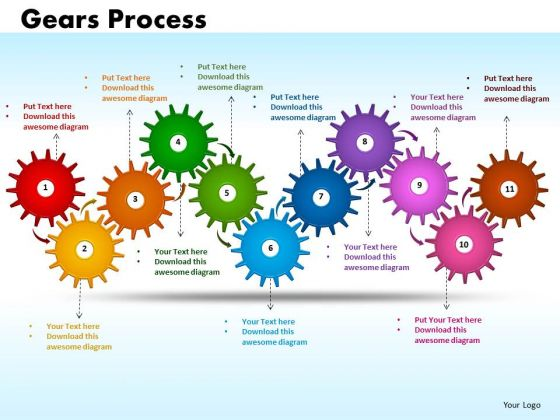 PowerPoint Slide Designs Gears Process Strategy Ppt Slide