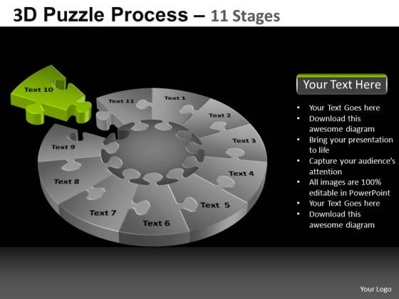 PowerPoint Slide Designs Graphic Pie Chart Puzzle Process Ppt Themes