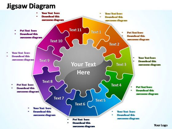 PowerPoint Slide Designs Process Multiple Jigsaw Ppt Slide