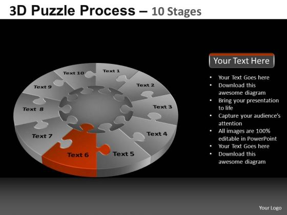 PowerPoint Slide Designs Sales Pie Chart Puzzle Process Ppt Backgrounds