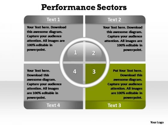 PowerPoint Slide Designs Teamwork Performance Sectors Ppt Slides