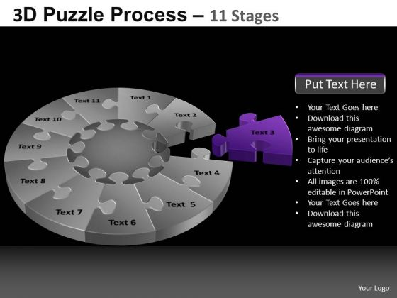 PowerPoint Slide Designs Teamwork Pie Chart Puzzle Process Ppt Theme