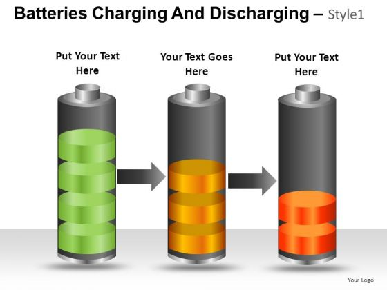 PowerPoint Slide Graphic Batteries Charging And Discharging Ppt Slide