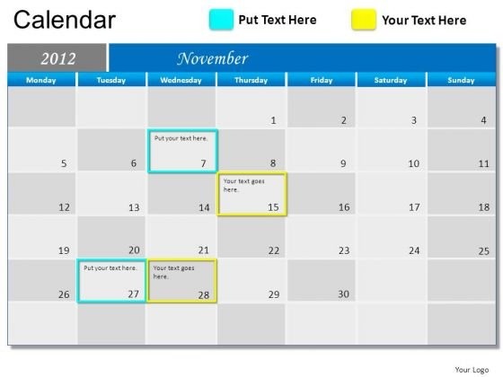 PowerPoint Slide Growth Blue Calendar 2012 Ppt Design