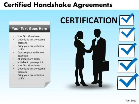 PowerPoint Slide Image Certified Handshake Ppt Template