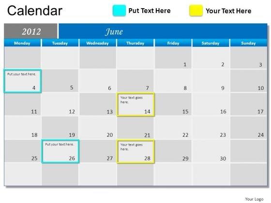 PowerPoint Slide June 2012 Calendar Ppt Templates