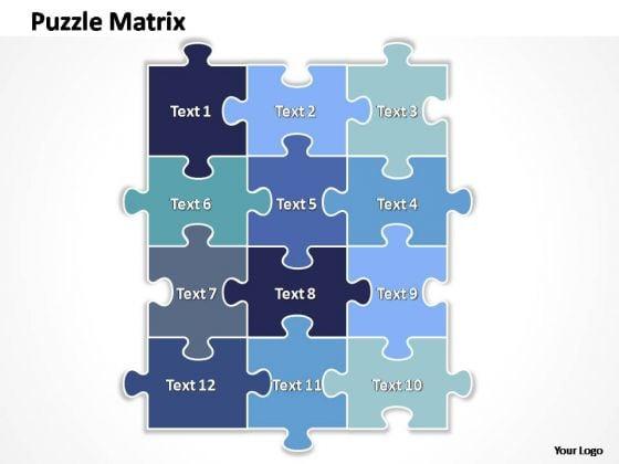 PowerPoint Slide Layout Chart Rectangular Jigsaw Puzzle Ppt Template