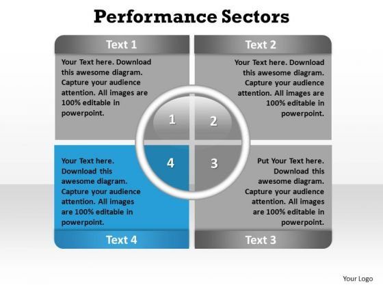 PowerPoint Slide Layout Leadership Performance Sectors Ppt Template