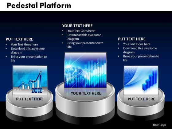 PowerPoint Slide Pedestal Platform Growth Ppt Slides