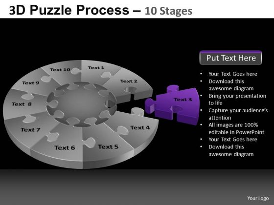 PowerPoint Slide Sales Pie Chart Puzzle Process Ppt Layout