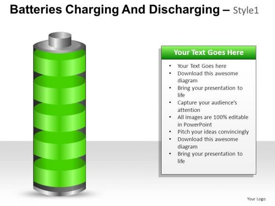PowerPoint Slide Strategy Batteries Charging And Discharging Ppt Slide