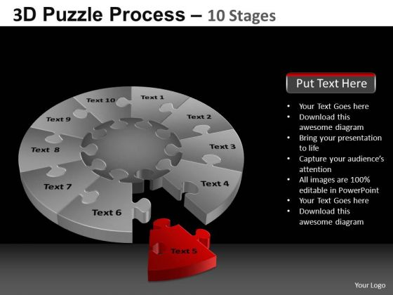 PowerPoint Slide Success Pie Chart Puzzle Process Ppt Template