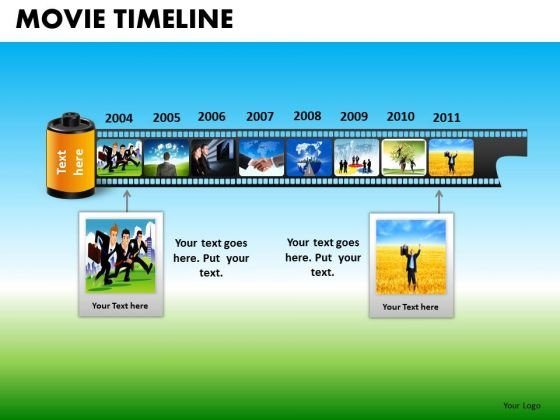 PowerPoint Slidelayout Company Strategy Movie Timeline Ppt Presentation Designs