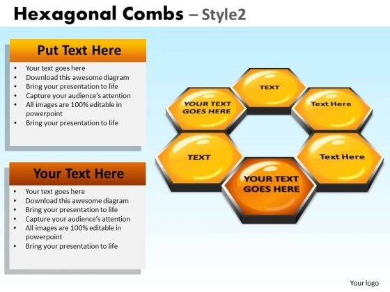 PowerPoint Slidelayout Corporate Teamwork Hexagonal Combs Ppt Slide
