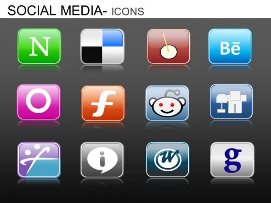 PowerPoint Slidelayout Corporate Teamwork Social Media Icons Ppt Presentation Designs