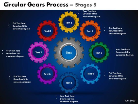 PowerPoint Slidelayout Cycle Chart Circular Gears Ppt Slidelayout