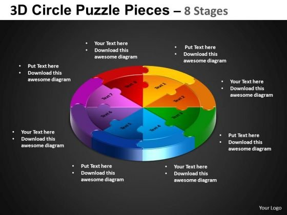 PowerPoint Slidelayout Cycle Process Circle Puzzle Diagram Ppt Process