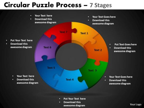 PowerPoint Slidelayout Cycle Process Circular Puzzle Ppt Designs