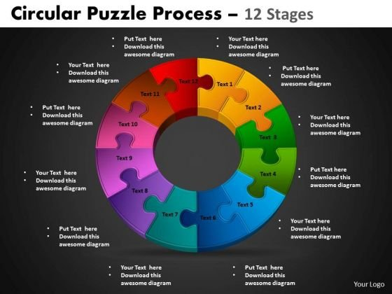 PowerPoint Slidelayout Cycle Process Circular Puzzle Ppt Template