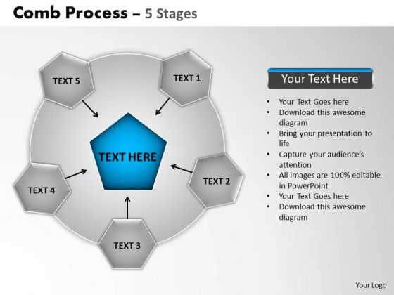 PowerPoint Slidelayout Diagram Comb Process Ppt Theme