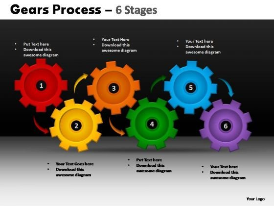 PowerPoint Slidelayout Diagram Gears Process Ppt Presentation