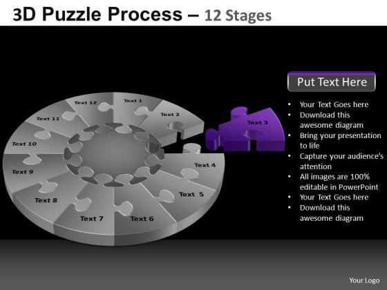 PowerPoint Slidelayout Diagram Pie Chart Puzzle Process Ppt Design