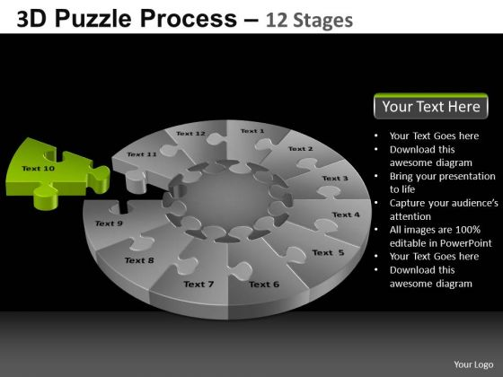 PowerPoint Slidelayout Editable Pie Chart Puzzle Process Ppt Backgrounds