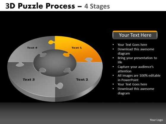 PowerPoint Slidelayout Editable Pie Chart Puzzle Process Ppt Presentation
