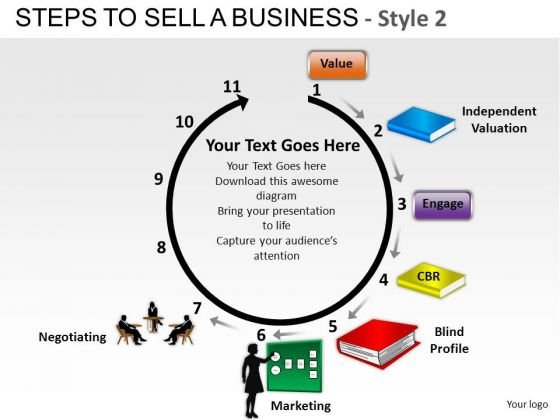 PowerPoint Slidelayout Executive Success Steps To Sell A Business Ppt Backgrounds
