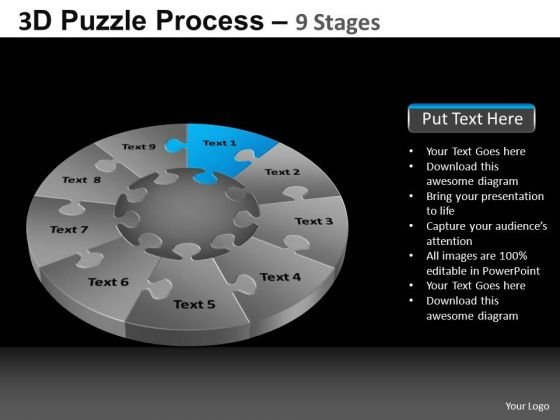 PowerPoint Slidelayout Global Pie Chart Puzzle Process Ppt Slide