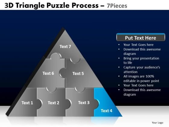 PowerPoint Slidelayout Growth Triangle Puzzle Ppt Design Slides
