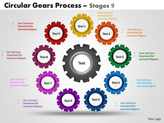 PowerPoint Slidelayout Marketing Circular Gears Ppt Layouts