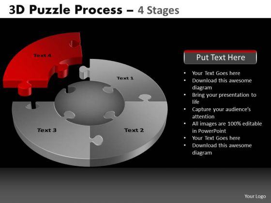 PowerPoint Slidelayout Marketing Pie Chart Puzzle Process Ppt Layout