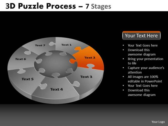 PowerPoint Slidelayout Process Pie Chart Puzzle Process Ppt Presentation