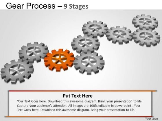 PowerPoint Slidelayout Strategy Gears Process Ppt Theme