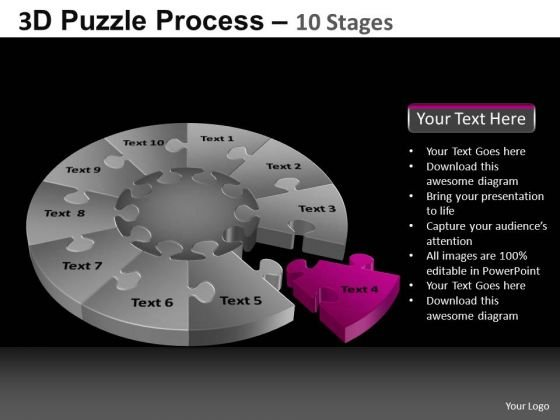 PowerPoint Slidelayout Strategy Pie Chart Puzzle Process Ppt Theme