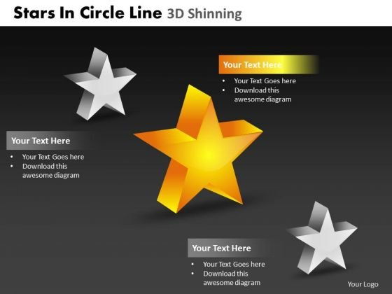 PowerPoint Slidelayout Strategy Stars In Circle Ppt Backgrounds