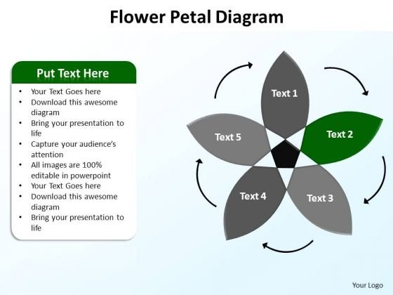 PowerPoint Slidelayout Teamwork Flower Petal Ppt Design